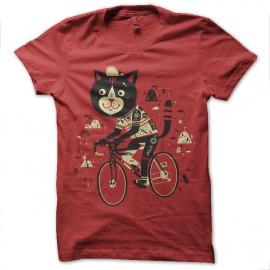 Shirt chat artistique rouge pour homme et femme