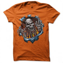Shirt skull fuck you orange pour homme et femme