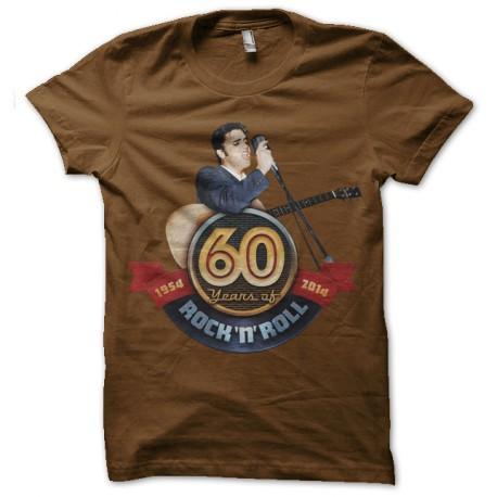 Shirt elvis 60 years of rock marron pour homme et femme