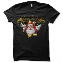 Shirt Santa Claus Happy New Year noir pour homme et femme
