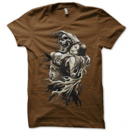 Shirt la mort éperdue marron pour homme et femme