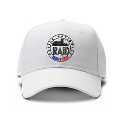 casquette police raid commando brodée de couleur blanche