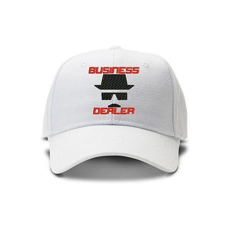 casquette HEINZENBERG BUSINESS DEALER brodée de couleur blanche