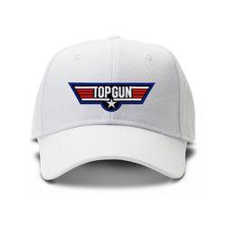 casquette TOP GUN brodée de couleur blanche