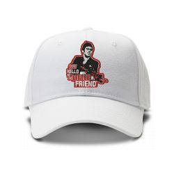 casquette SCARFACE SAY HELLO TO MY LITTLE FRIEND brodée de couleur blanche
