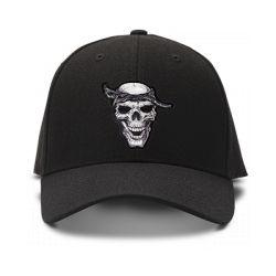 casquette squelette rock brodée de couleur noire
