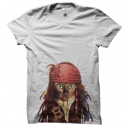 Shirt chat pirate cat sparrow blanc pour homme et femme