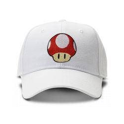 casquette mario bros mushroom brod'e de couleur blanche