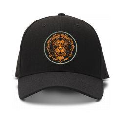 casquette lion blason brod'e de couleur noire