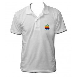 Polo apple couleurs gay blanc