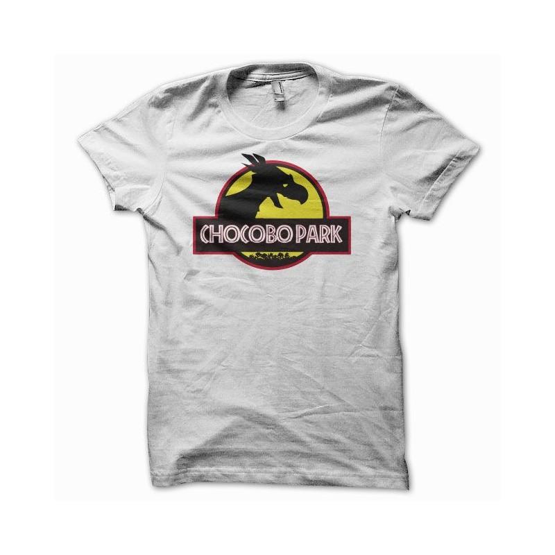 T Shirt Chocobo Park Parodie Jurassic Park Blanc