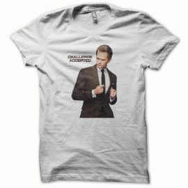 Shirt How i met your mother challenge accepted blanc pour homme et femme