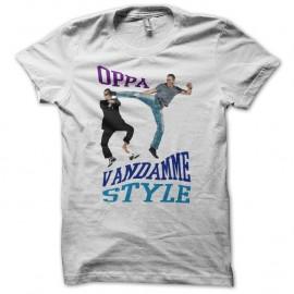 Shirt OPPA Van Damme Style parodie gangnam blanc pour homme et femme