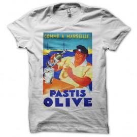 Shirt Pastis Olive vintage 60's blanc pour homme et femme