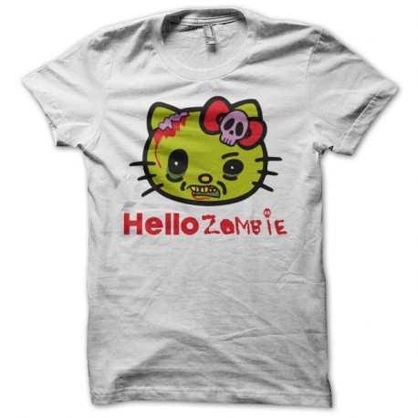 T Shirt Hello Kitty Parodie Hello Zombie Blanc