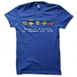 Shirt 5 fruits et légumes parodie Mario bleu pour homme et femme