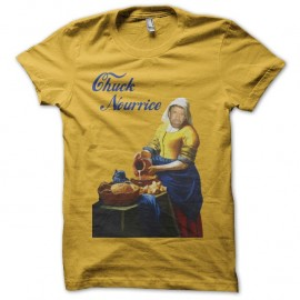 Shirt Chuck Norris parodie La Laitière Chuck Nourrice jaune pour homme et femme