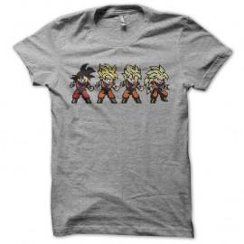 Shirt Son Goku evolution pixel art gris pour homme et femme