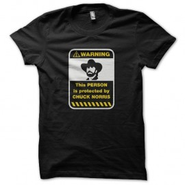 Shirt Warning sign Protected by Chuck Norris noir pour homme et femme