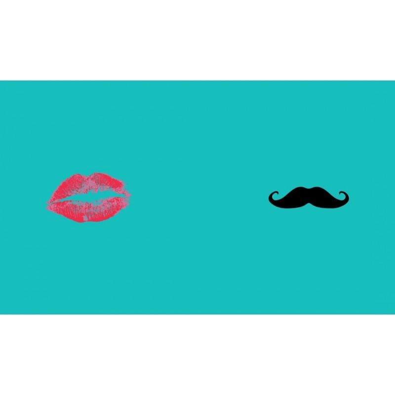 t shirt pour couple swag moustache et l vres pack homme et femme turquoise. Black Bedroom Furniture Sets. Home Design Ideas