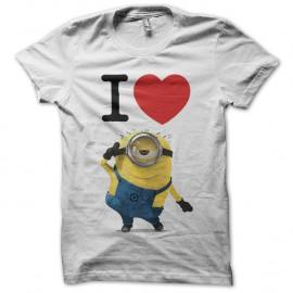 Shirt I love Minion j'aime les minions blanc pour homme et femme