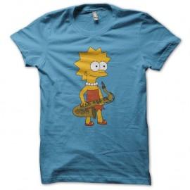 Shirt Lisa Simpson saxophone turquoise pour homme et femme