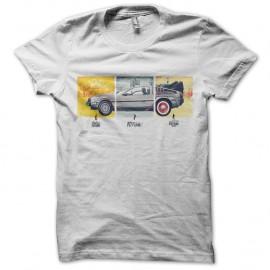 Shirt schéma delorean retour vers le futur blanc pour homme et femme