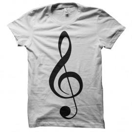 Shirt clé de sol blanc pour homme et femme