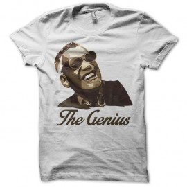 "Shirt Ray Charles ""The Genius"" blanc pour homme et femme"