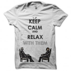 Shirt keep calm daft punk blanc pour homme et femme