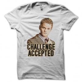 Shirt Challenge Accepted Barney Stinson blanc pour homme et femme