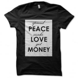 Shirt peace love money noir pour homme et femme