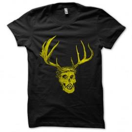 Shirt True Detective tête de mort et bois de cerf noir pour homme et femme