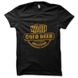 Shirt bienvenue a la biere rafraichissante noir pour homme et femme