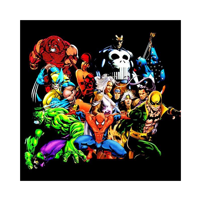 Bien-aimé T-shirt super heros marvel comics noir FP78