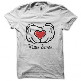Shirt Mickey et L'amour en blanc pour homme et femme
