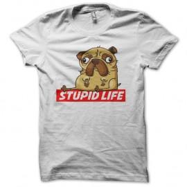 Shirt stupid life blanc pour homme et femme