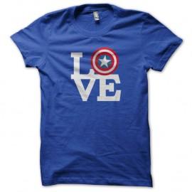 Shirt Captain America LOVE Bleu pour homme et femme