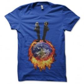 Shirt daft punk enflamme la terre bleu pour homme et femme