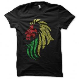 Shirt lion couleurs rasta noir pour homme et femme