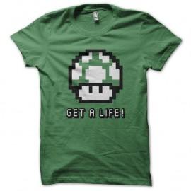 Shirt Get A Life magic mushroom vert pour homme et femme