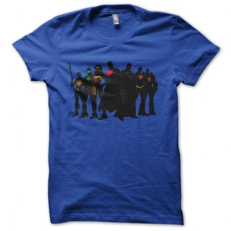 Shirt justice league super heros bleu pour homme et femme