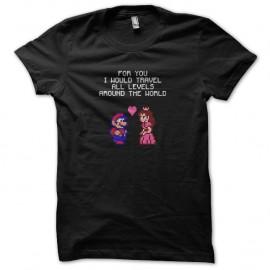 Shirt Mario declaration d amour Daisy noir pour homme et femme