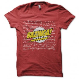 Shirt bazinga avec physique chimie calcule en arriere plan rouge pour homme et femme