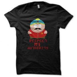Shirt eric cartman respect my authority version communiste noir pour homme et femme