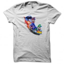Shirt skateboard mario and luigi blanc pour homme et femme