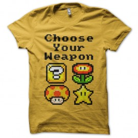 Shirt Choose your weapon Mario jaune pour homme et femme