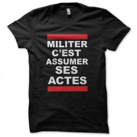 Shirt militer assumer ses actes façon Run Dmc noir pour homme et femme