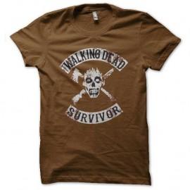 Shirt walking dead survivor marron pour homme et femme