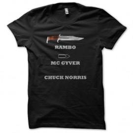 Shirt chuck norris vs rambo noir pour homme et femme